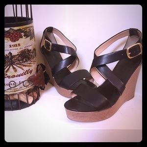 Banana Republic Black Wedge Heels